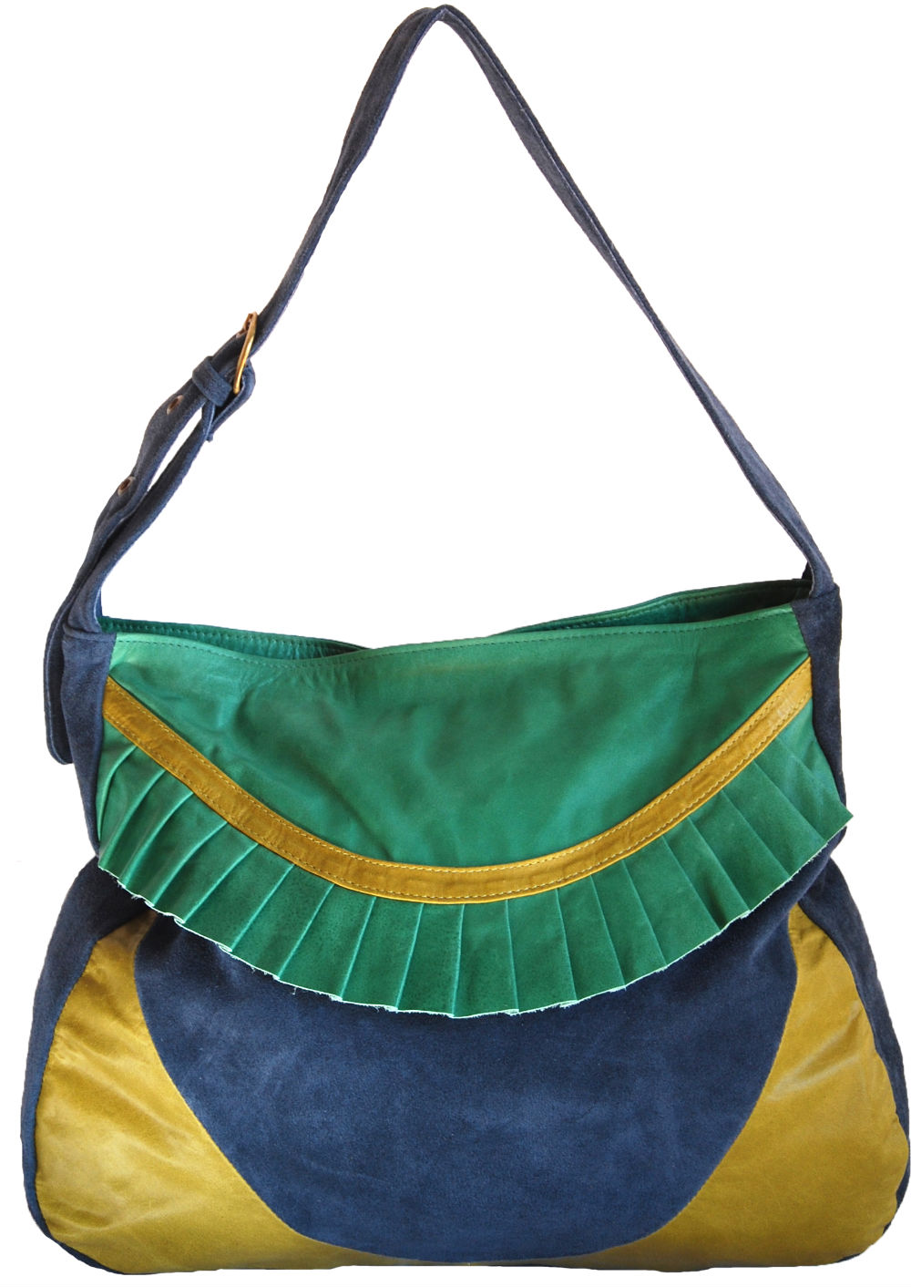 <span>Cartera tricolor, con volado en el frente (Pampa & Pop). </span></p>
