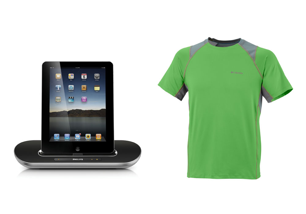 <span>Sistema de audio Hi Fi con Ipod, Iphone y Ipad ($ 1299, Philips). Remera con ventilaciones y protección solar ($ 764, Columbia).</span></p>
