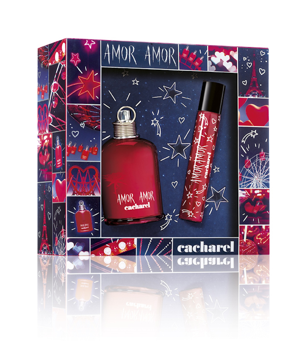 <span>Cofre con EDT de 100ml y mini de 20 ml de la fragancia Amor Amor ($1040, Cacharel). </span></p>